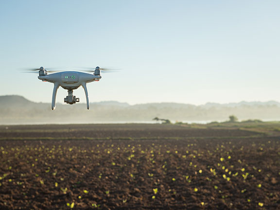 A drone surveying a field