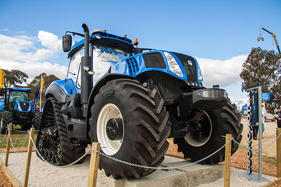 New Holland autonomous tractor on display at henty