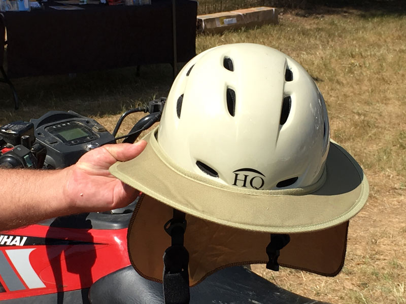 The HQ stockman 2 helmet showing its wide brim